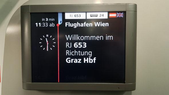Railjet vom Flughafen Wien nach Graz