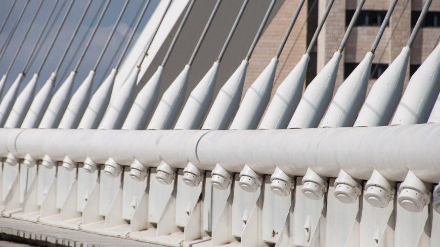 """""""Harfensaiten"""" der Calatrava-Brücke in Jerusalem"""