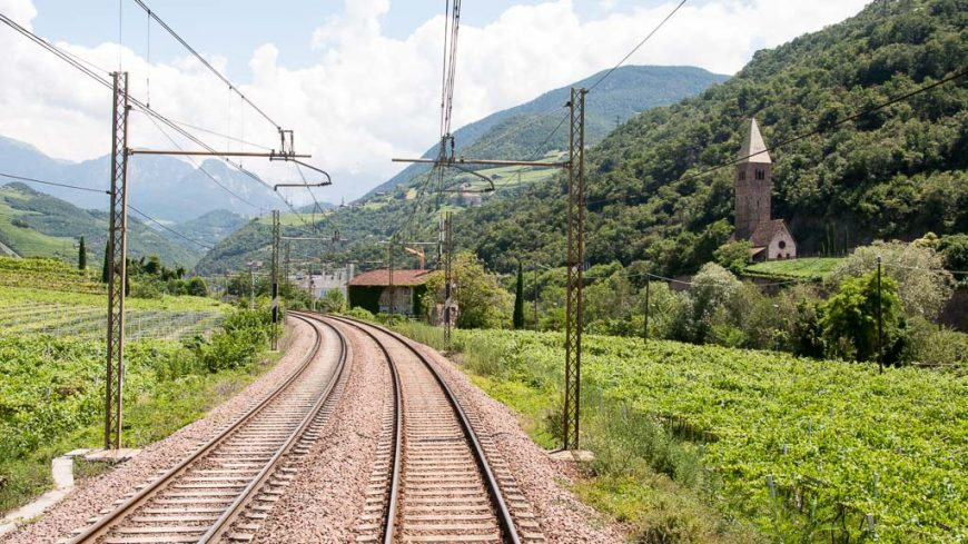 Bahnstrecke in Südtirol