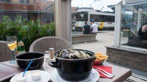 Muscheln im Hotel des Brasseurs in De Haan, direkt an der Kusttram-Station