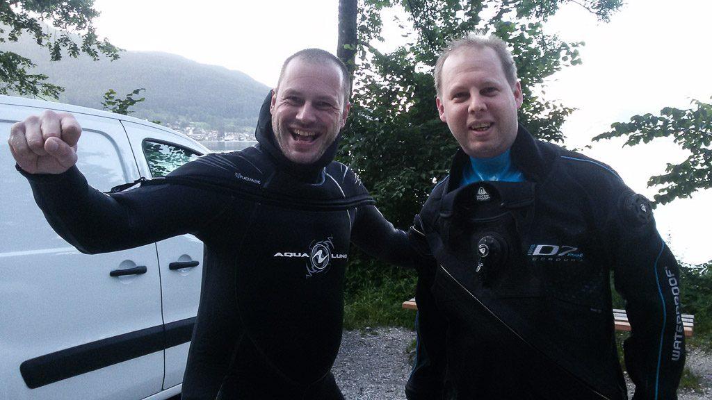 Gerhard Liebenberger und Markus Pötzelsberger beim Tauchen