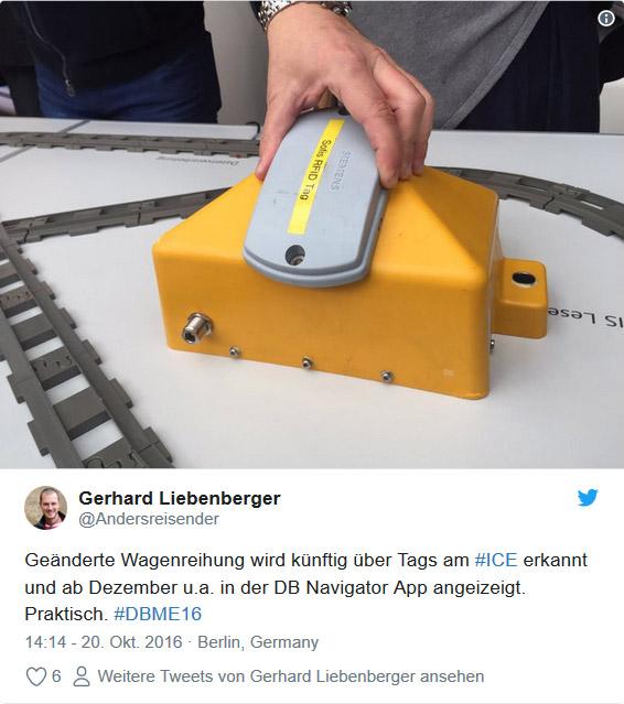 Twitter: #DBME16 Wagenreihung in der DB Navigator App