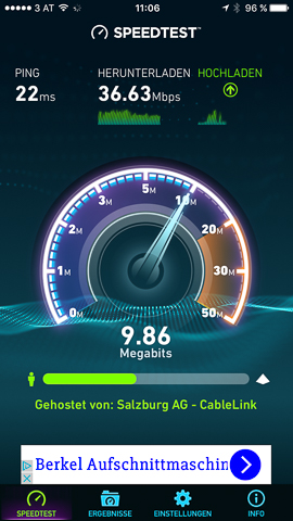 Internet Speedtest für Facebook Live-Videos