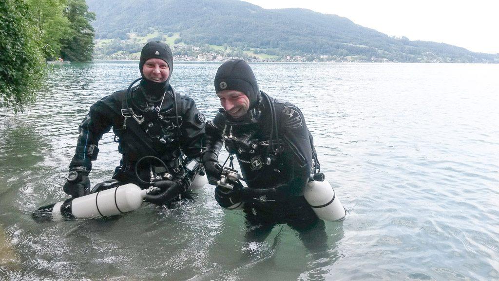 Markus Pötzelsberger und Gerhard Liebenberger beim Tauchen