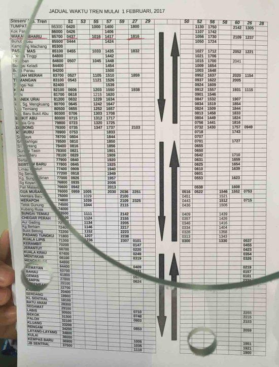 Fahrplan der Dschungel-Eisenbahn Malaysia (Tumpat - Wkaf Bharu - Gua Masang - Gemas - Johr Bharu)