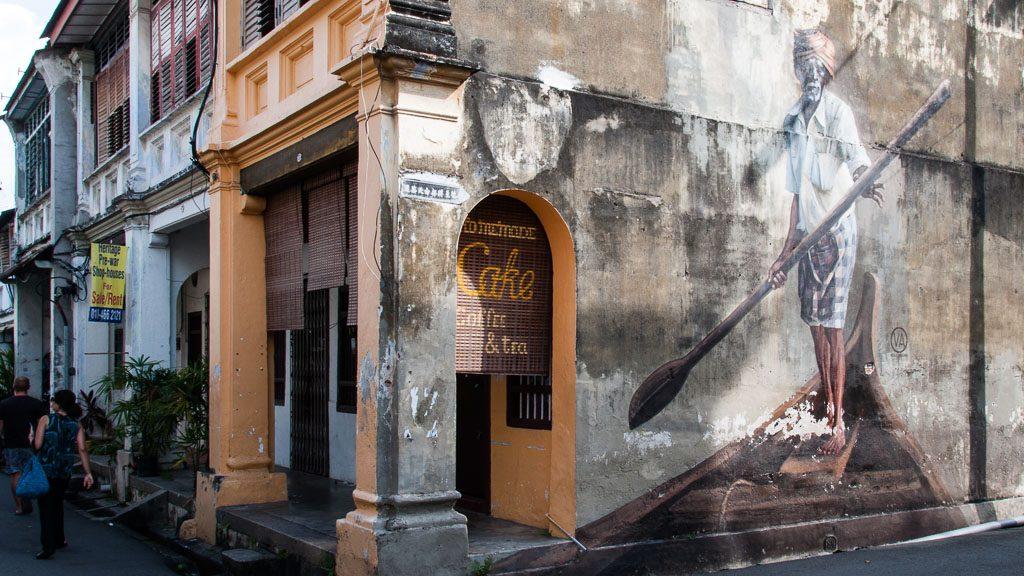 Murales mit Fischer in George Town - Penang