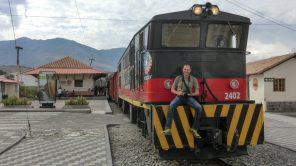 Gerhard Liebenberger auf einer Lok von Tren Ecuador