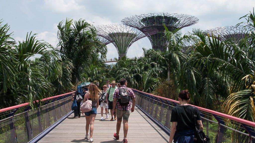 Zugang zu den Gardens by the Bay in Singapur direkt vom Marina Bay Sands Hotel