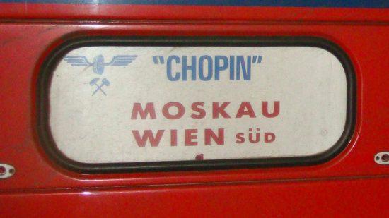 Zug Wien-Moskau Wagenlaufschild