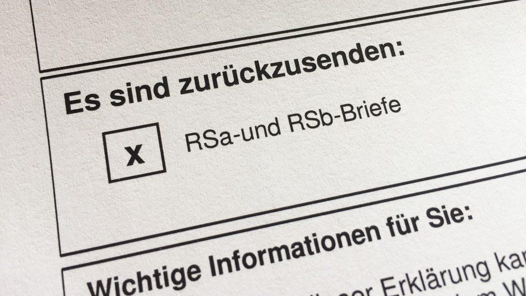 Ortsabwesenheit: RSa und RSb Briefe während der Reise zurücksenden