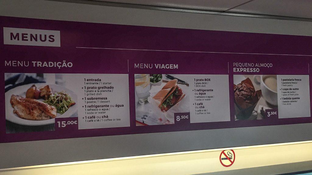 Speisekarte im Speisewagen Irun - Lissabon