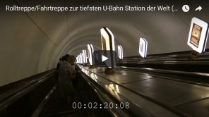 Rolltreppe zur tiefsten U-Bahn Station der Welt in Kiew