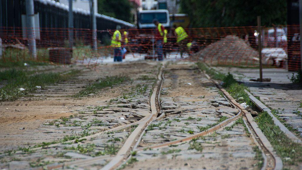 Straßenbahn Lemberg - Bauarbeiten vor dem Bahnhof