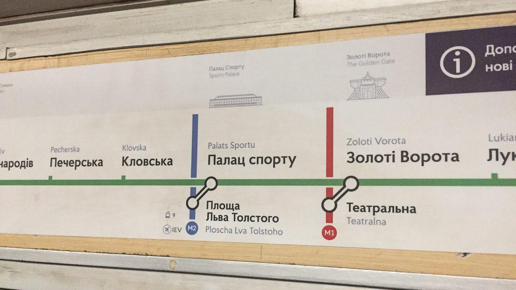 Umsteigestationen der Metro Kiew