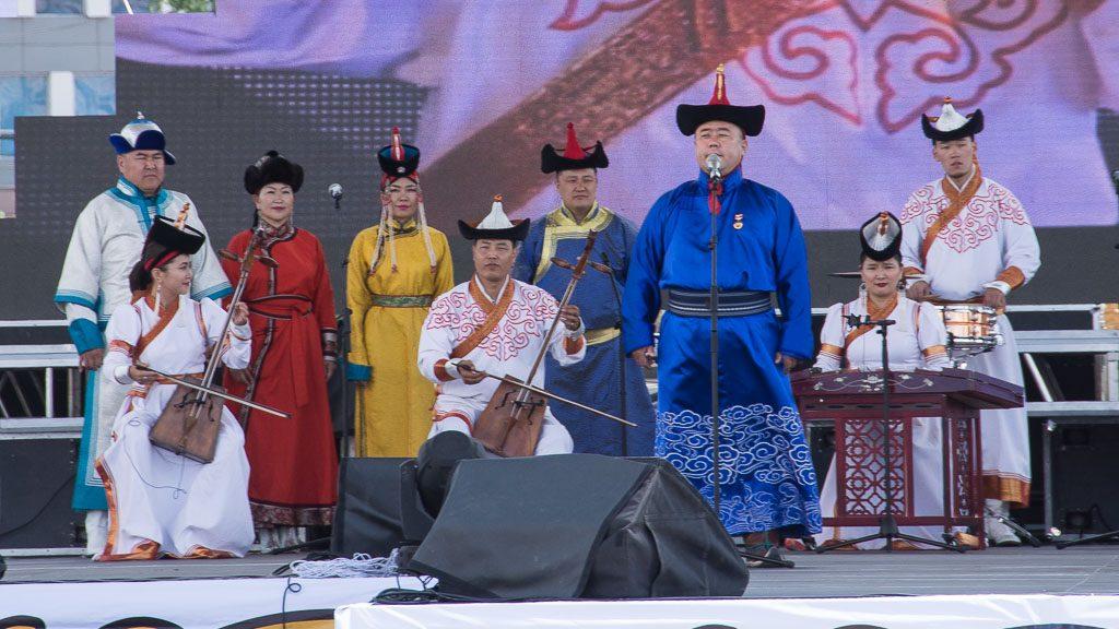 Bühne am Süchbaatar Platz in Ulan Bator