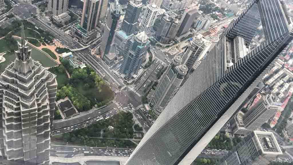 Blick vom Shanghai Tower auf das Shanghai World Financial Center und den Jin Mao Tower