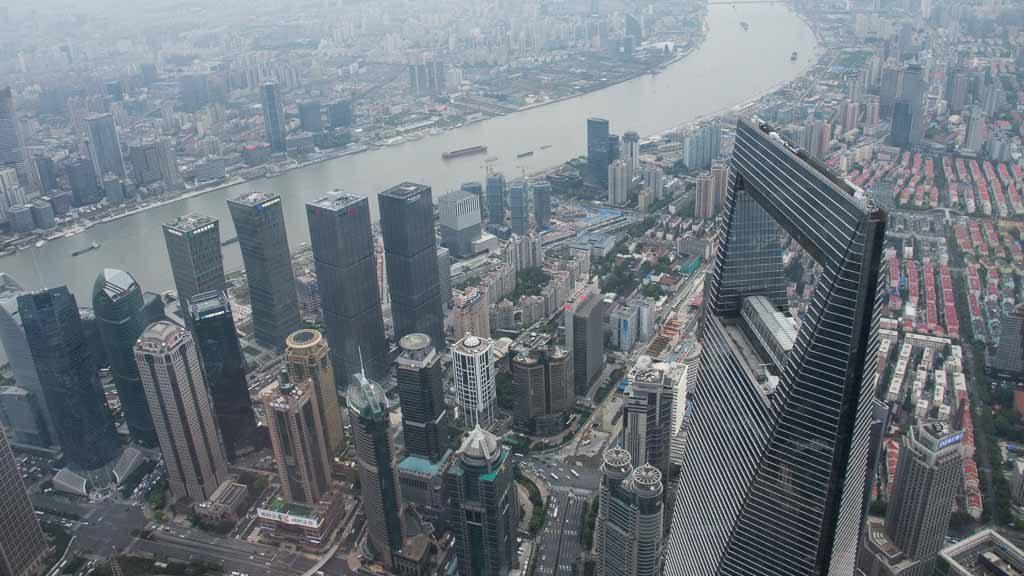 Blick von der Shanghai Tower Aussichtsplattform Richtung SWFC