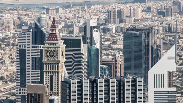 Burj Khalifa: Blick auf das Dubai Finanzzentrum