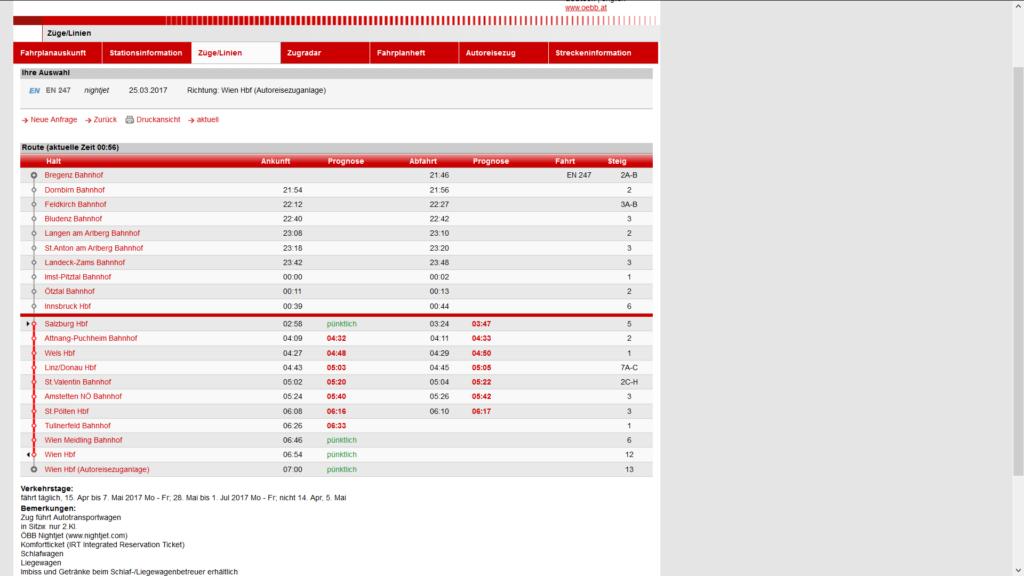 ÖBB Fahrplan zur Zeitumstellung (Winter- auf Sommerzeit) Screenshot