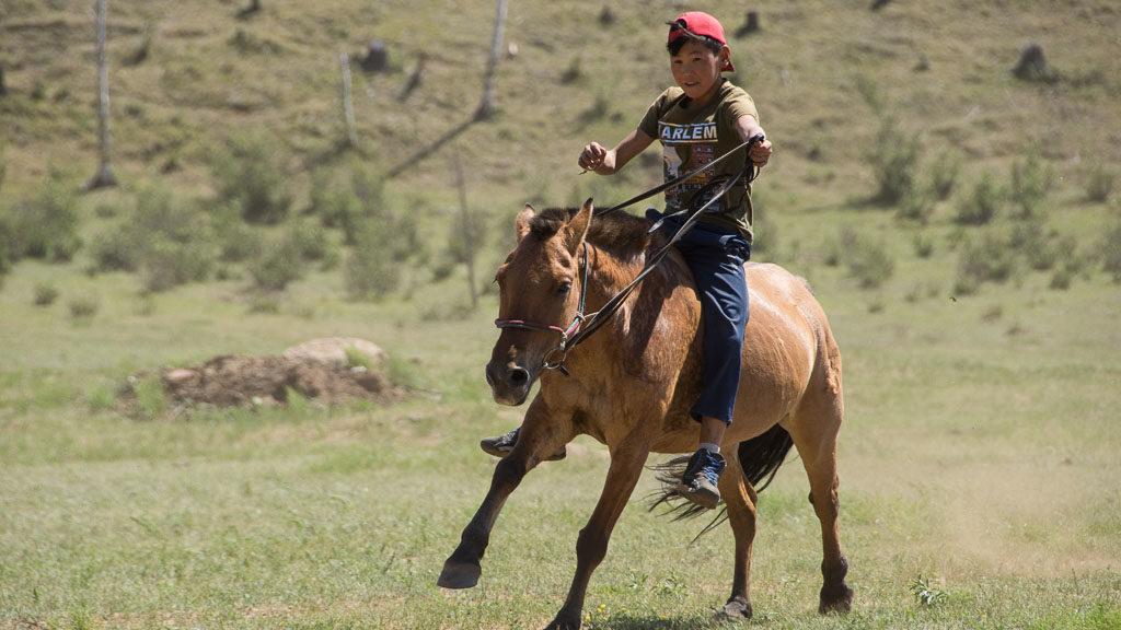 Kind auf einem Pferd in der Mongolei