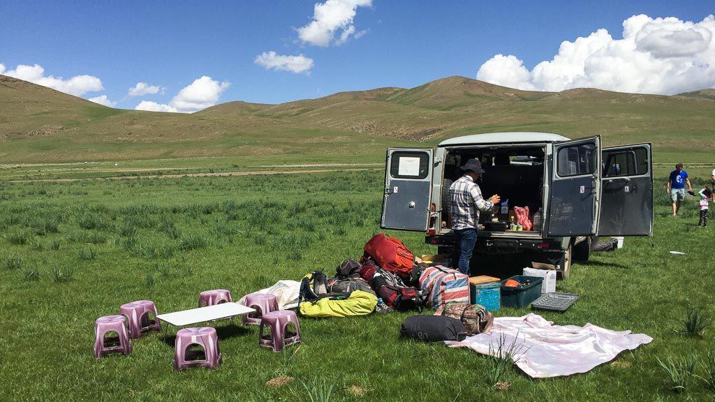 Mittagessen wärend der Mongolei-Tour