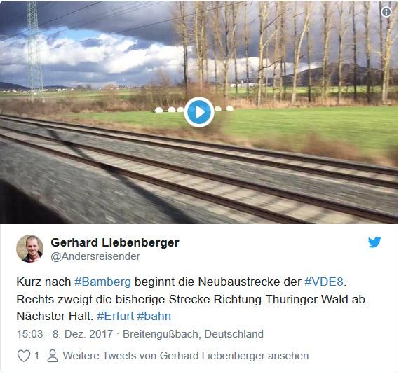 Twitter Video: Eröffnung Schnellfahrstrecke Berlin - München bei der Abzweigung in den Thüringer Wald