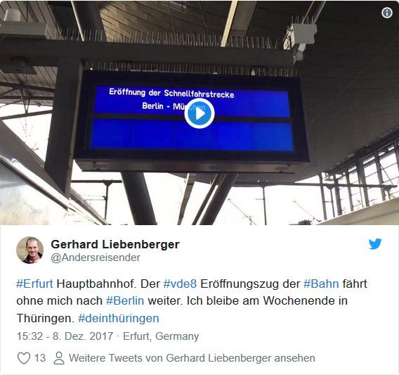 Twitter Video: Eröffnung Schnellfahrstrecke Berlin - München in Erfurt Hauptbahnhof