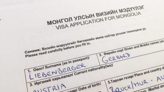 Visumantrag für Mongolei