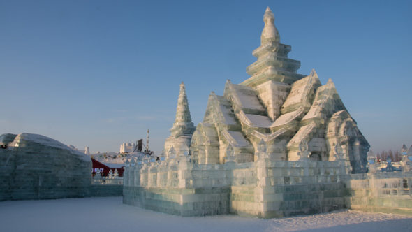 Tempel in der Harbin Ice & Snow World