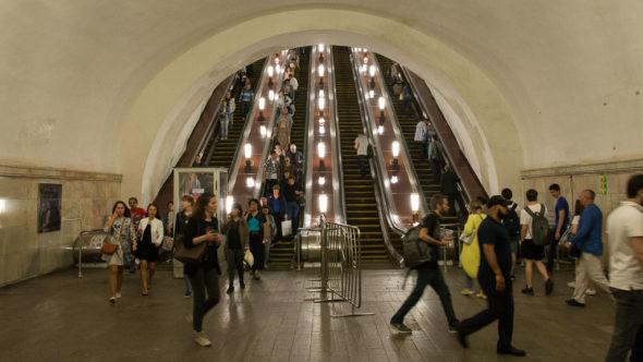 Fahrtreppen in der Metro Moskau