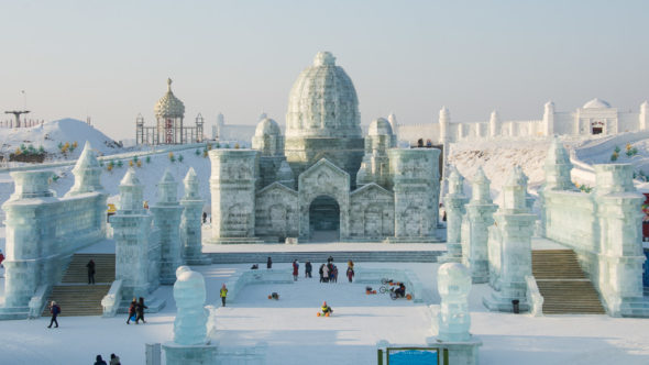 Die Eisstadt in Harbin (China) in der Multimediashow Transsibirien