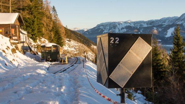 Schafbergbahn verschneite Gleise