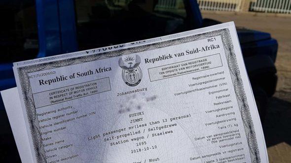 Bestätigung der Autovermietung für die Fahrt mit dem Auto durch Lesotho