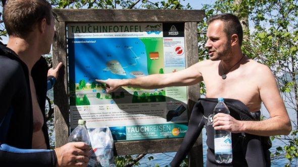 Briefing für den ersten Tauchgang im See