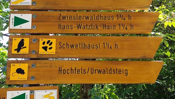 Bahnwandern Nationalpark Bayerischer Wald Beschilderung