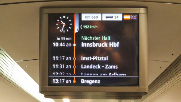 Railjet Zug nach Innsbruck